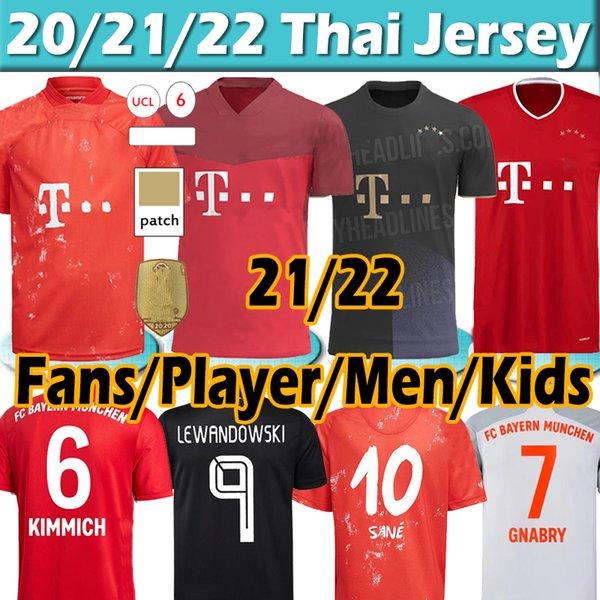 top popular 2021 Soccer jerseys fans player version SANE LEWANDOWSKI COMAN GNABRY DAVIES MULLER 21 22 munich Men+kids Kits Football shirt Thai top 2021
