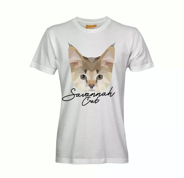 Savannah Cat T-Shirt Polygon Cat by siviwonder