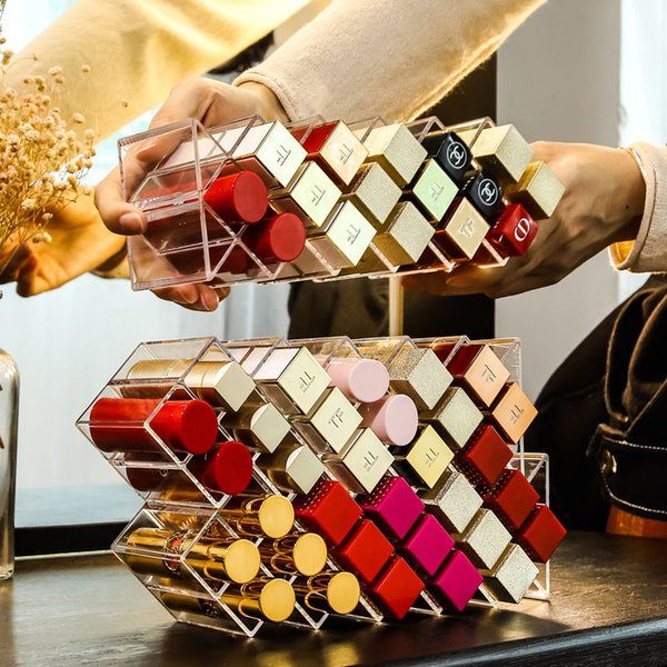 26 Grids Transparent Lipstick Storage Box Acrylic Makeup Organizer jewelry Cosmetic Shelf Desktop Dressing Table Bathroom Use