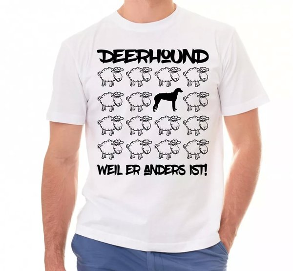 Deerhound Unisex T-Shirt Black Sheep Men Dog Dogs Motif Scottish Stag Dog