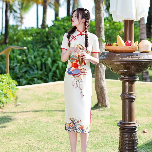Chinese Printed Short Sleeves Cheongsam Female Ice Silk Knee-Length Qipao Elegant Traditional Clothing Size S-3XL Apparel Ethnic Clothing DIY Clothing Mens Clothing Womens Clothing Ethnic Clothing