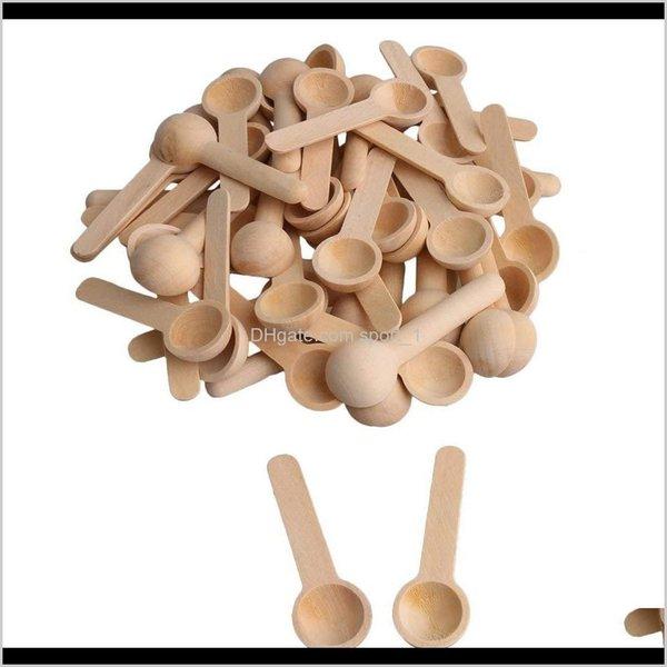 top popular Spoon El Supplies Garden 100Pcslot Mini Nature Wooden Home Kitchen Cooking Tool Scooper Salt Seasoning Honey Coffee Spoons Shiping Dro 2021