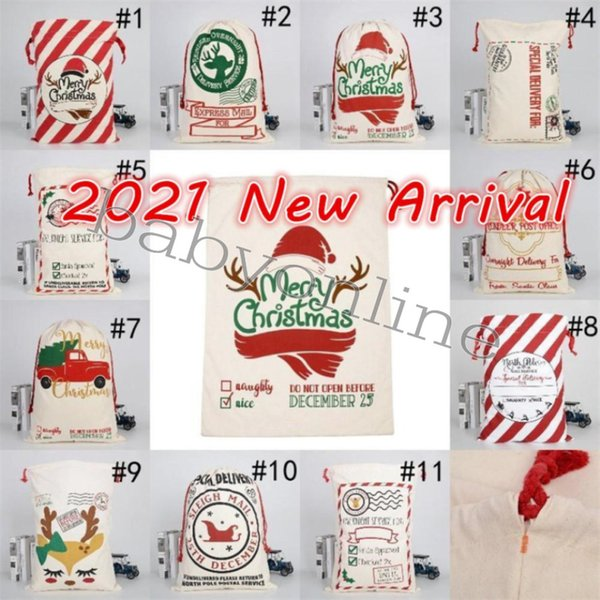 best selling DHL Christmas Santa Sacks Canvas Cotton Bags Large Heavy Drawstring Gift Bags Personalized Festival Party Christmas Decoration