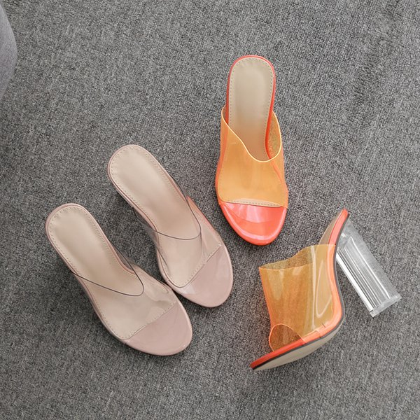 NUASK New Women Heels PVC Transparent Shoes Women Pumps Sexy Clear High Heels Ladies Shoes Summer Sandals Slippers Women Shoes