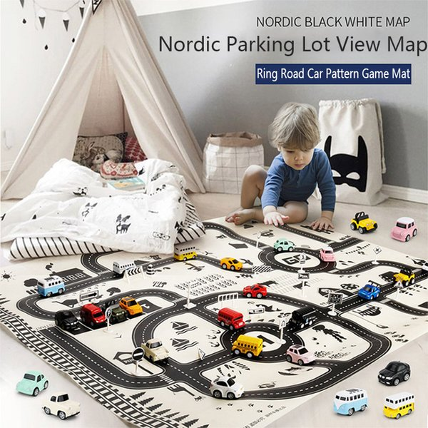 Road Map Carpet for Kids 130*100CM Parking Lot Roadmap City Traffic Map of Road Carpet Traffic Signs Baby Climbing Play Mat Toys