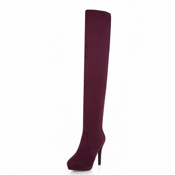 KALENMOS Long Boots Women Thin High Heel Flock Over The Knee Boots Zip Red Party Ladies Heels Fashion Long Boot Size 33 43 Hiking Boots Shoes For Wome c4U0#