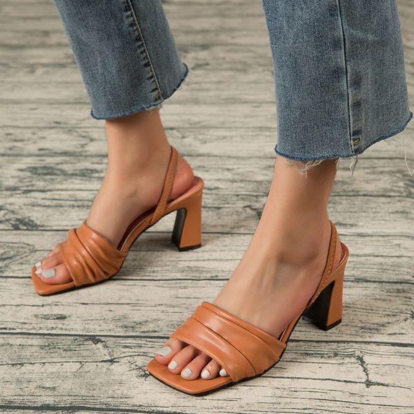 Women Sandals Sqaure Toe Ladies Fashion Summer Shoes Summer Plus Size Footwear Woman Slip On Female New 2021 Shoe Comfort