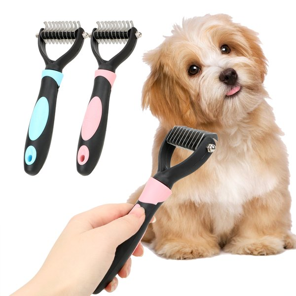Hair Removal Comb for Dogs Cat Detangler Fur Trimming Dematting Deshedding Brush Grooming Tool One/Double Side Comb Pet Grooming