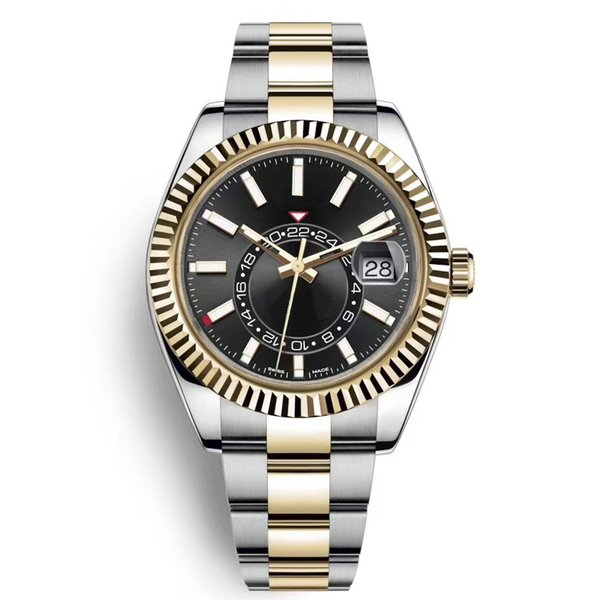 best selling High Quality Sky Deluxe Men Watches Automatic Mechanical Fashion Business Stainless Steel Gold 2813 movement Luminous Waterproof Watches