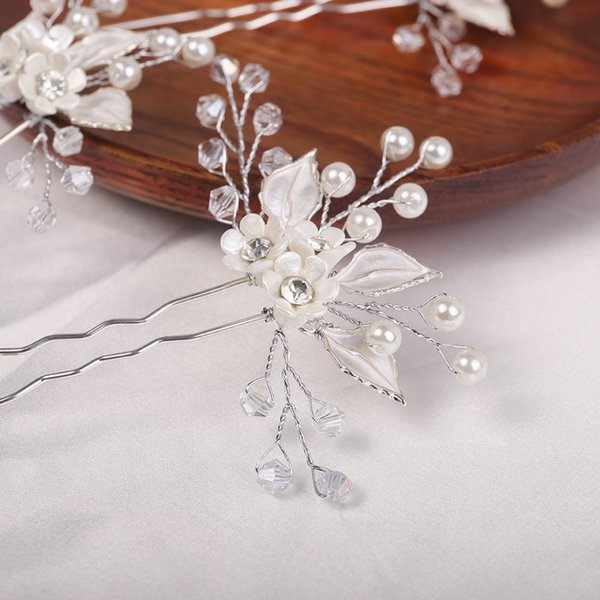 Silver Flower Hair Pins Crystal Rhinestone Shiny Romantic Women Headpieces Wedding Hair Accessories for Girls Party Jewelry
