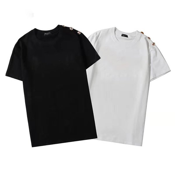 top popular Mens Stylist T Shirt Friends Men Women summer Button decoration Designers High Quality Tees Size S-3XL 2021