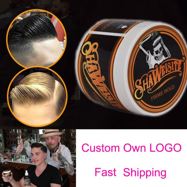 top popular Custom Logo Hair Pomade Strong style restoring wax skeleton cream slicked mud keep oil edge control wet For Salon Hairstyle 2021