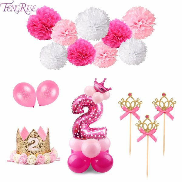 top popular 2nd Birthday Banner I AM TWO Birthday Balloons Pink Blue Happy Birthday Party Decoration Kids Baby Shower Party Favors 2021