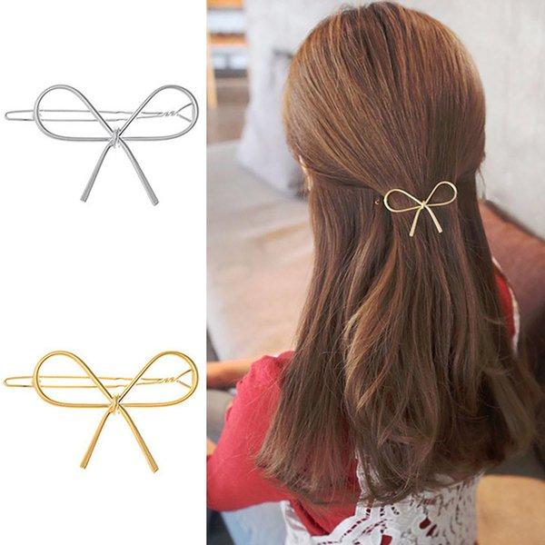 Fashion Geometric Bowknot Hair Clips Women Girls Metal Barette Hairpins Hairgrips Hollow out Headwear Hair Accessories