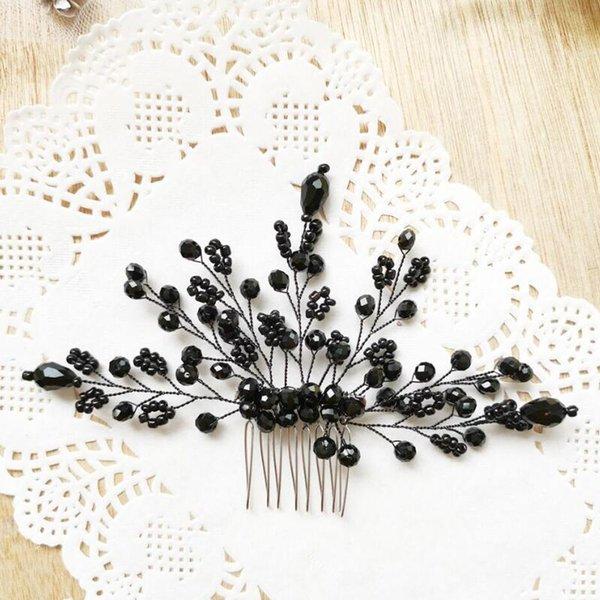 Black Crystal Hair Combs Wedding Hair Accessories Bride Wedding Hair Comb Black Bridal Accessories Piece for Women