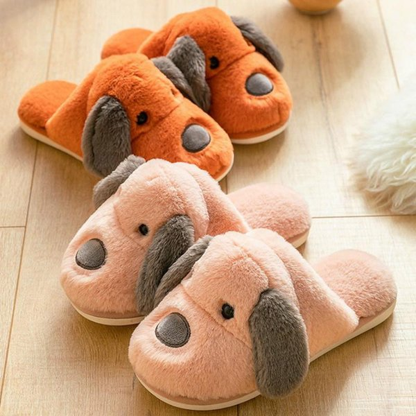 winter women house slippers faux fur warm shoes lovers cute cartoon dog soft sole home indoor ladies plush fluffy, Black