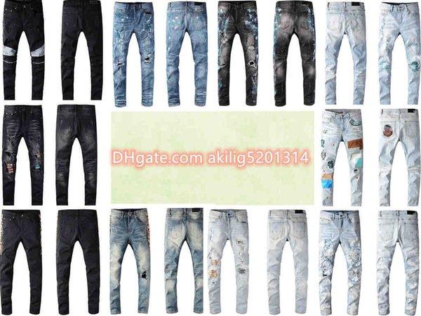 best selling 2021 Mens Designer Jeans Trendy Knee Fold Features Zipper Motorcycle Pants Stretch Slim Fit European and American Denim Men's Jeans's Sise 28-38