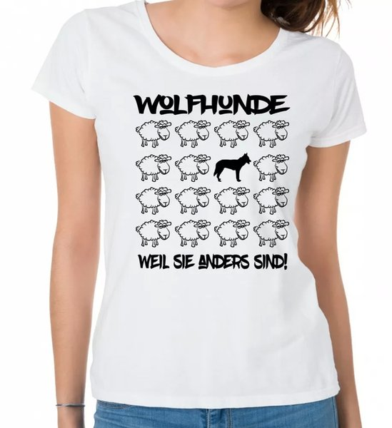 Wolf Dog Ladies T-Shirt Black Sheep Women Dog Dogs Fashion Wolf