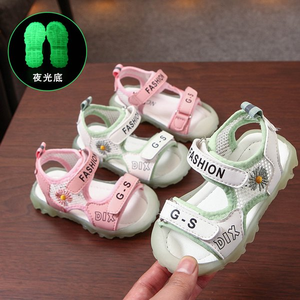 Summer Daisy Baby Shoes 1-3-6 Years Old Luminous Shoes Sandals for Girls and Children Non-slip Non-slip Childrens Shoes 2-5 Sof