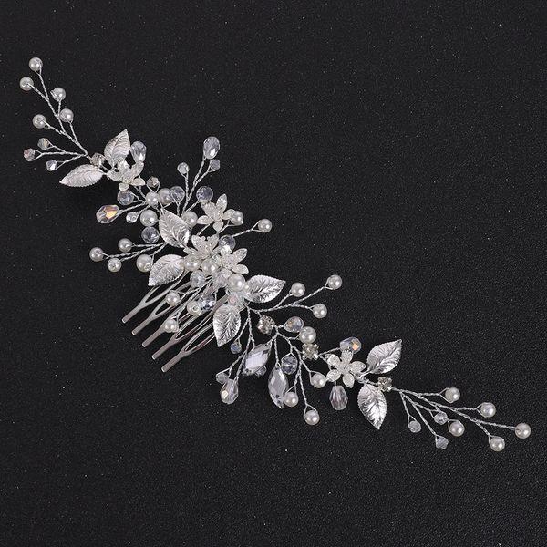 Silver Leaves Vintage Hair Comb Wedding Headdress Flower Hair Jewelry For Bride Headpieces Tiara Hair Accessories