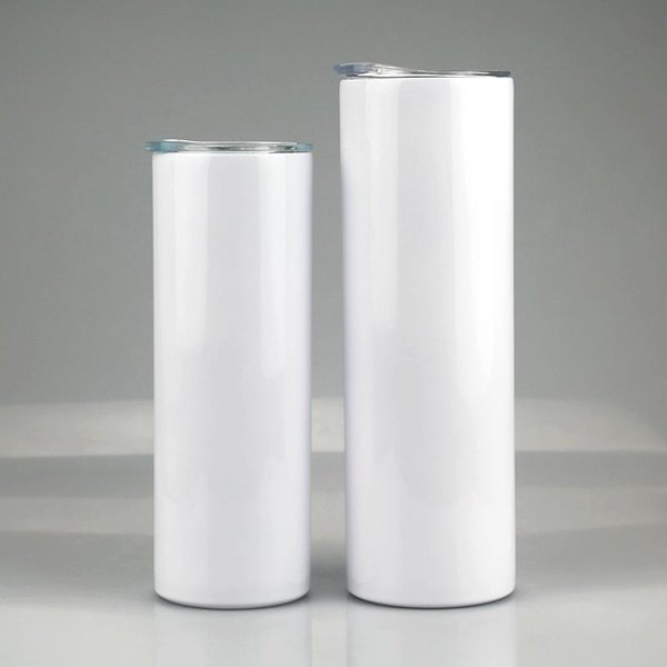20oz 30oz mugs Sublimation Straight Skinny Tumbler Stainless steel blank white cup with lid straw Cylinder water bottle coffee