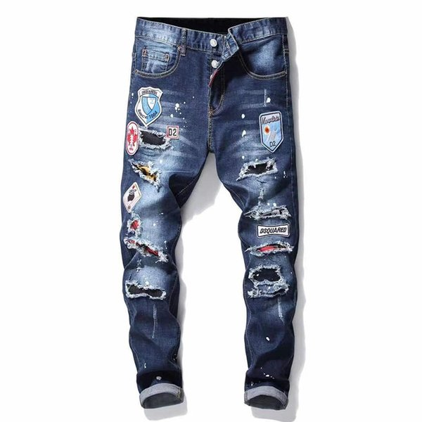 best selling 21SS Mens Badge Rips Stretch Black Men Jeans Fashion Slim Fit Washed Motocycle Denim Pants Panelled Hip HOP Trousers .