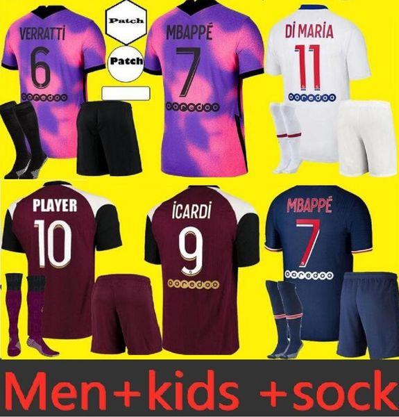 top popular Adult and kids Maillots de football equipment 20 21 MBAPPE Soccer Jerseys 2021 DI MARIA KEAN ICARDI VERRATTI jersey 2021