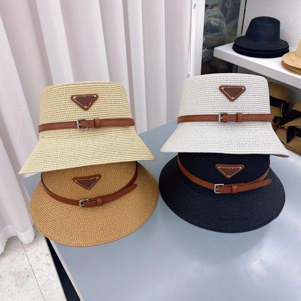 Designer Cap Belt Buckle Straw Bucket Hat Fashion Men Women Fitted Hats High Quality Sun Caps