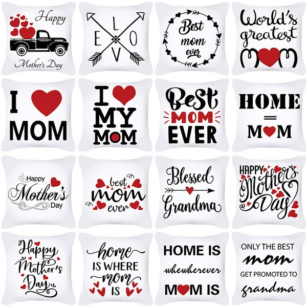top popular Mother's Day pillow cover Nordic letter love peach skin velvet sofa pillow cover office cushion cover home 2021