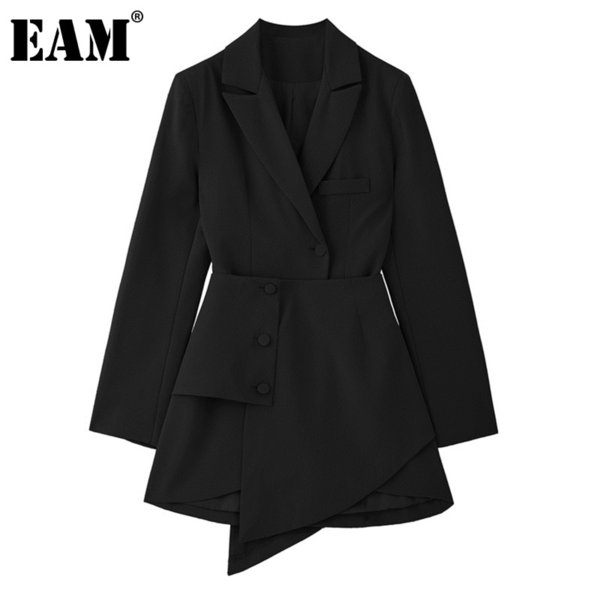 eam women black irregular split joint button dress new lapel long sleeve loose fit fashion tide spring autumn 2021 1y787, Black;gray