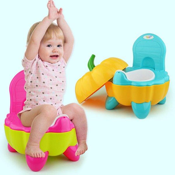 top popular DHL Ship 3 Colors Potties & Seats Cute Pumpkin Style Designer Toilet Seat for Children High Quality Children's Training Device 2021