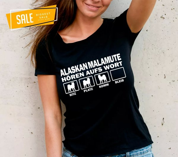 SALE Alaskan Malamute Dog slogan hear the Letter Womens T-Shirt S education