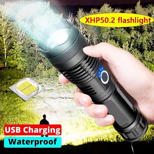 top popular Bright xhp p50 most powerful flashlight xhp70 tactical flashlight xhp50.2 x5 flash xhp70.2 torch flashlight 18650 work lamp camp 201207 2021