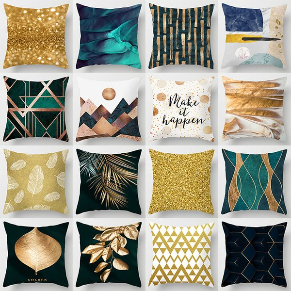 New Gold Blue Nordic Geometric Cushion Cover Hot Modern Abstract Art Deco Pillow Cover Sofa Seat Bed Sofa Throw Pillow
