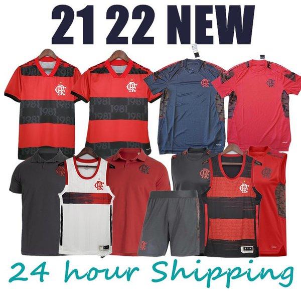 best selling 21 22 Flamengo soccer jersey POLO vest shorts DE ARRASCAETA football shirts kids kit GERSON uniform Camisa 2022 Flamengo training Feminina