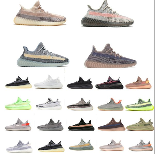 top popular Kanye West Static Black Refective Ash Blue Running Shoes Israfil Cinder Desert Sage Earth Tail Light Zebra Womens Mens Trainers Size 36-48 With Half 2021