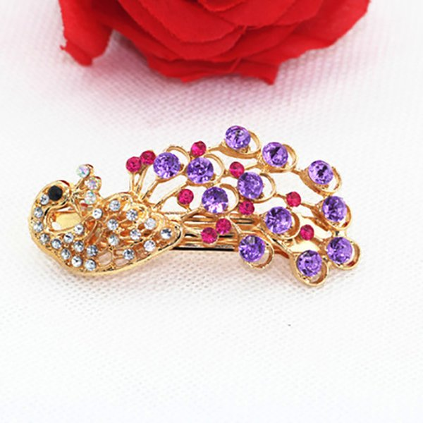 Retro Hairwear Lady Girl Full Crystal Rhinestone Peacock Barrette Hairpin Hair Clip Shiny Hair Styling Accessories Jewelry Gift