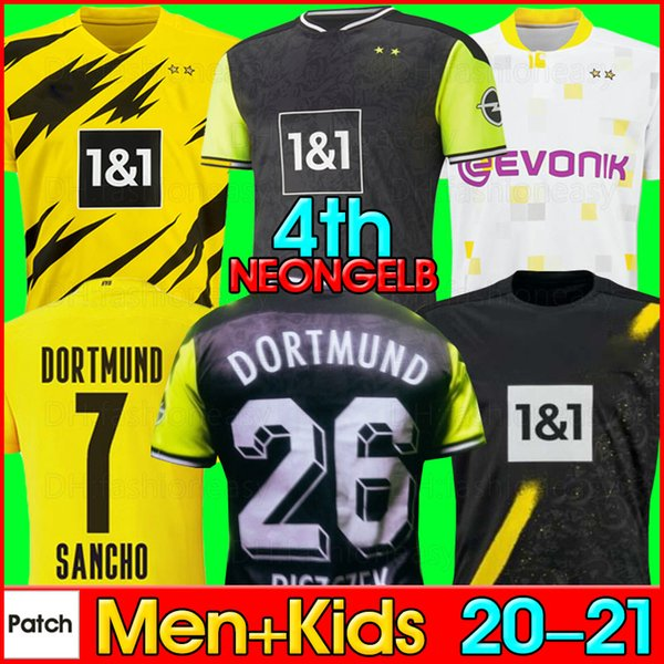 best selling dortmund soccer jersey Borussia 20 21 fourth 4th 2021 football shirt 1990s HAALAND REUS NEONGELB BELLINGHAM SANCHO HUMMELS BRANDT men + kids kit maillot de foot
