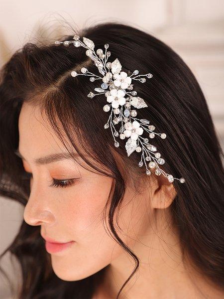 Fashion Silver Flower Hair comb Crystal Rhinestone Pearl Korea Hair pin Wedding Headdress women Bridal Accessories hair jewelry