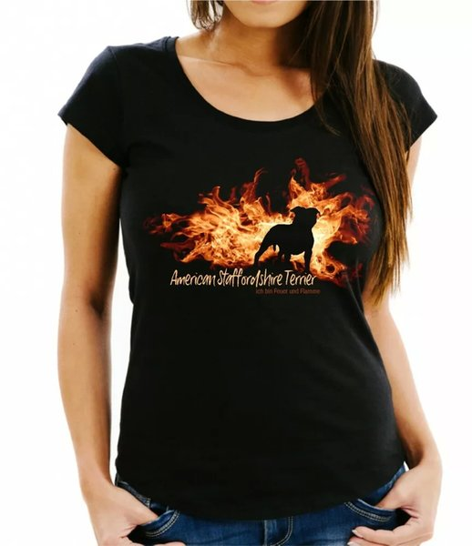 Ladies T-Shirt American Staffordshire Fire and Flame by siviwonder Dog Motif