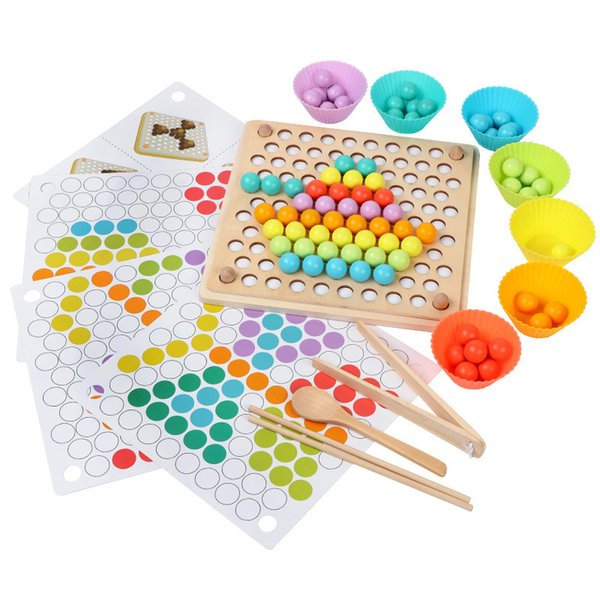 top popular Wooden Kids Toys Hands Brain Training Clip Beads Puzzle Board Math Game Baby Early Educational Toys For Children 2021