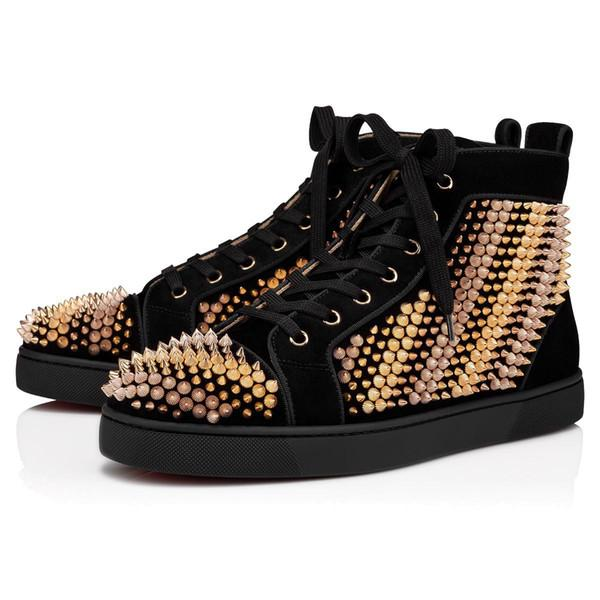 best selling [With box]2021 Top Quality red bottoms mens womens Casual Shoes multicolor black designer platform Flat bottom flash vintage spikes rivet fashion Sneaker size 36-45