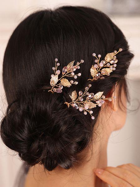 Gold Leaf Accessory Wedding Hair Jewelry Crystal Three Hair Pins Chic Fashion Women hat female wedding hair accessories