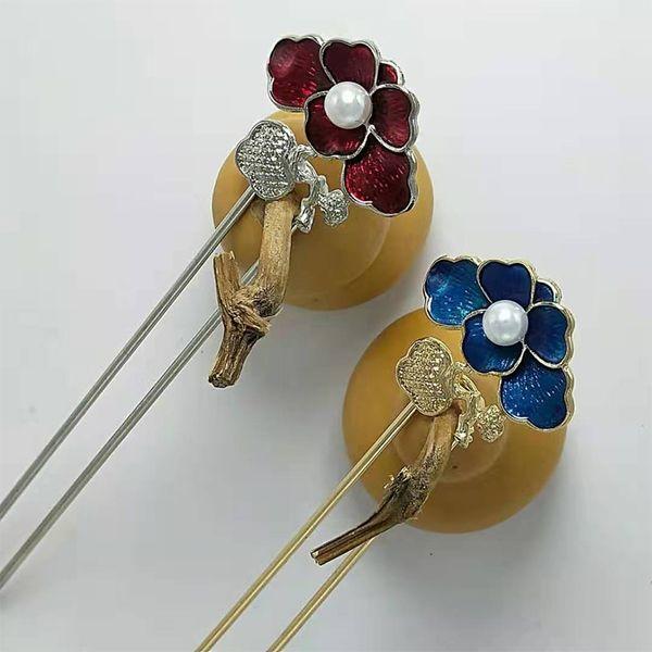 Hair Stick Vintage Chinese Style Rhinestone Hair Stick Hair Flower Women Metal Hairpin Chignon Woman Clip Accessories