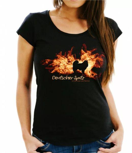 Ladies T-Shirt German Spitz fire and flame by siviwonder Dog Motif
