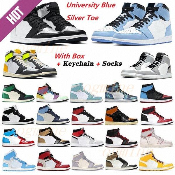 top popular jumpman Silver toe 1 1s men basketball shoes high dark mocha Banned shadow UNC patent university blue light smoke grey retro chicago twist royal sports sneakers 2021 2021