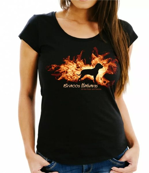Ladies T-Shirt Bracco Italiano fire and flame by siviwonder Dog Motif