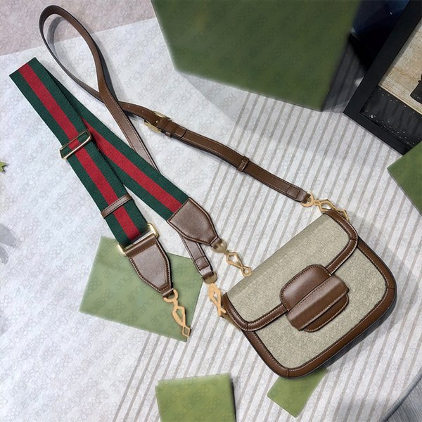 Women Luxurys Designers Bags 2021 canvas letters print Horsebt saddle real leather purses with SN two shoulder straps cross body bag