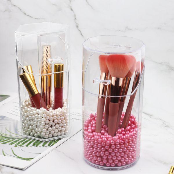 Makeup Organizer Cosmetic Box Acrylic Makeup Brush Holder Lipstick Pencil Pearl Storage Container Clear Storage Box Organizer