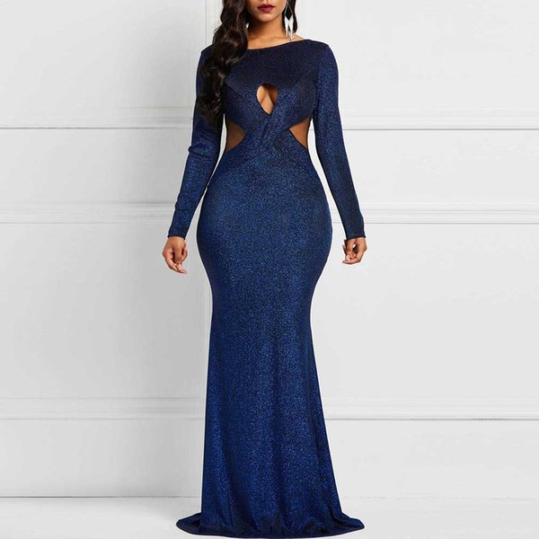 Glitter Sexy Dress Women Night Club Wear Hollow Out Sheer Mesh Patchwork Tight African Ladies Plus Size Long Sequin Dress Party
